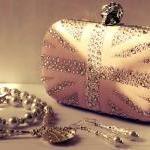 Nude leather pink skull clutch handmade with crystal like sparkles in Union Jack box clutch